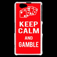 Coque Sony Xperia Z1 Compact Keep Calm Gamble Rouge