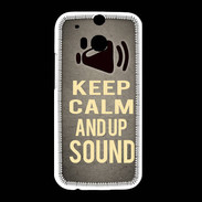 Coque HTC One M8 Keep Calm and Up Sound Gris